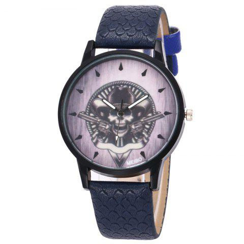 Fashion Gun Skull Face Faux Leather Watch - DEEP BLUE  Mobile