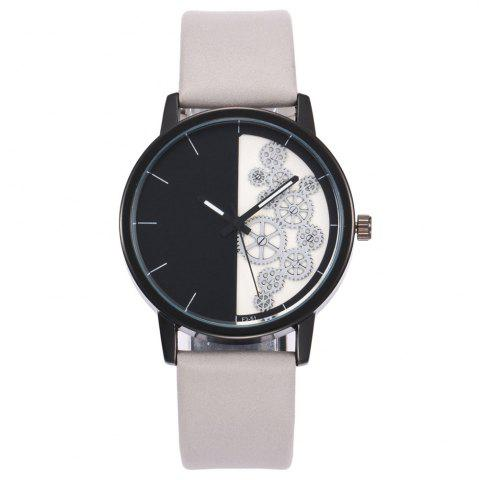 Chic Gear Pattern Faux Leather Strap Watch WHITE
