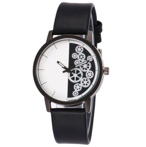 Shop Gear Pattern Faux Leather Strap Watch