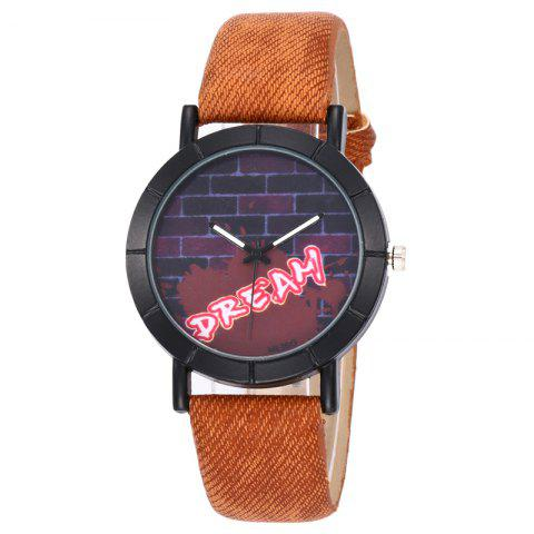 Hot Brick Wall Face Faux Leather Watch - BROWN  Mobile