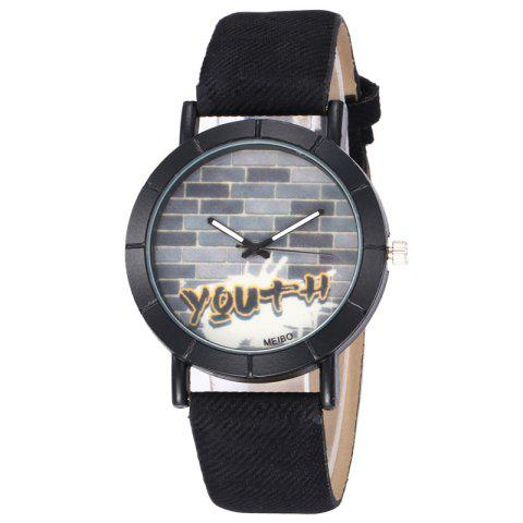 Best Brick Wall Face Faux Leather Watch BLACK