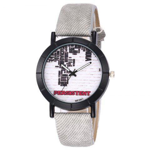 Outfit Brick Wall Face Faux Leather Watch - LIGHT GRAY  Mobile