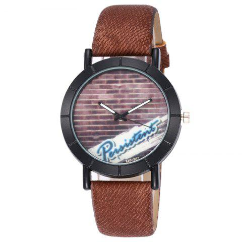 Online Brick Wall Face Faux Leather Watch COFFEE