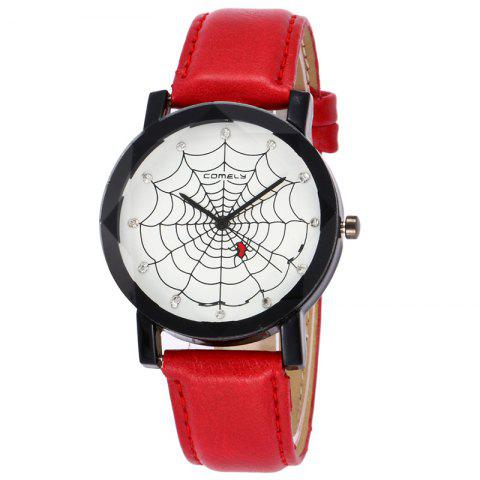 Hot Spider Web Face Faux Leather Watch - RED  Mobile