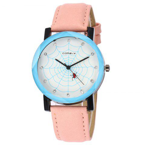 Spider Web Face Faux Leather Watch