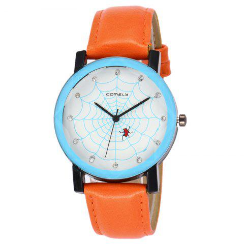 Spider Web Face Faux Leather Watch Orange