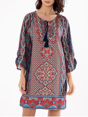 Floral Boho Shift Dress Multicolore 2XL