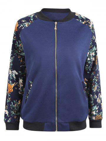 Hot Plus Size Floral Printed Raglan Sleeve  Jacket - 5XL BLUE Mobile