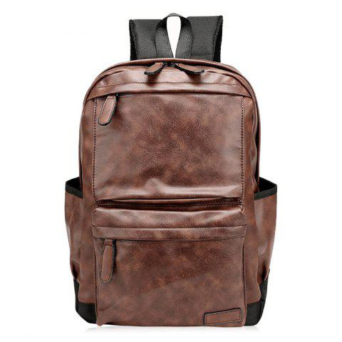 Latest Side Pocket PU Leather Backpack BROWN