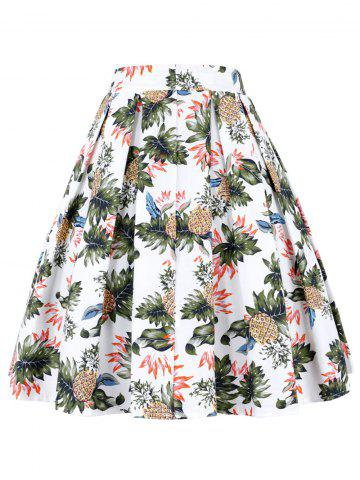 Unique A Line Pineapple Pleated Skirt WHITE S