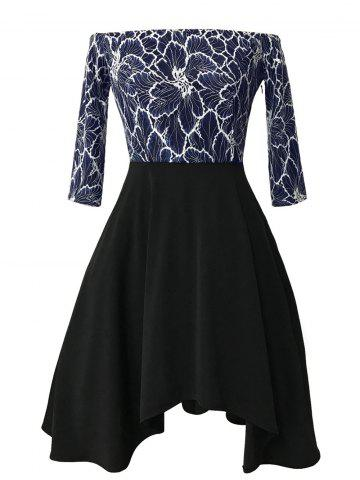 Store Asymmetric Lace Insert Off The Shoulder Vintgae Dress - L BLUE AND BLACK Mobile