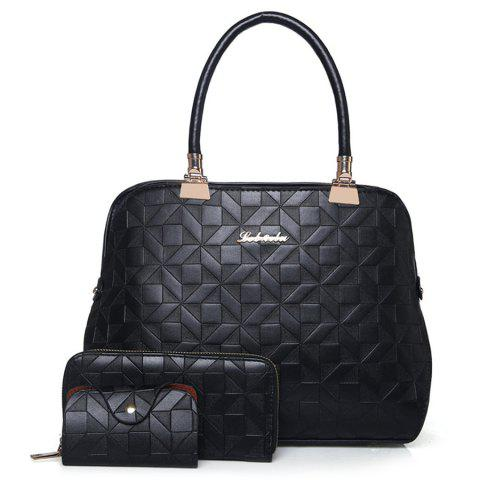 Outfits 3 Pieces Metal Quilted Tote Bag Set BLACK