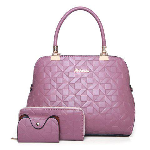 New 3 Pieces Metal Quilted Tote Bag Set PINK