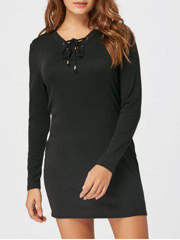 Discount Lace Up Long Sleeve Bodycon Dress - XL BLACK Mobile