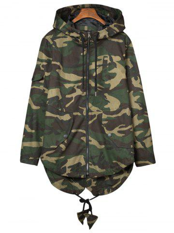 Affordable Pockets Hooded Camouflage Lightweight Coat - XL ARMY GREEN CAMOUFLAGE Mobile
