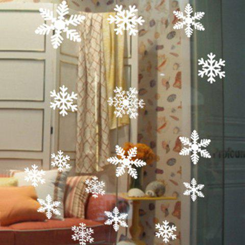 Trendy Christmas Snowflake Wall Stickers For Bedroom - WHITE  Mobile