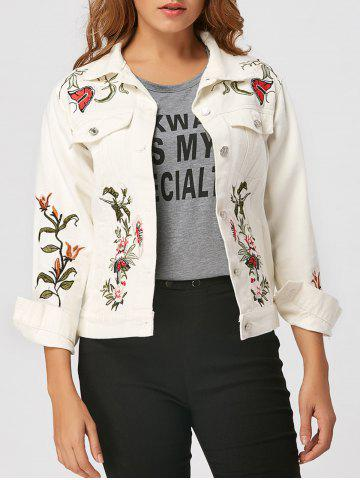 Outfit Embroidered Denim Jacket WHITE S