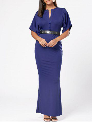 Raglan Sleeve V Neck Maxi Bodycon Dress Bleu 2XL