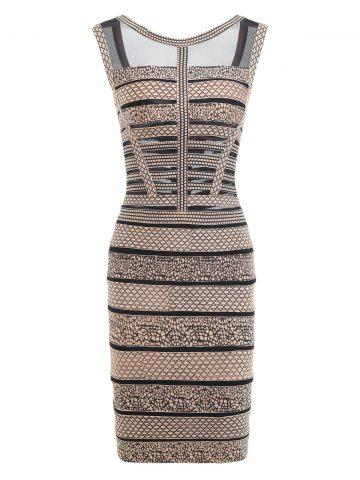 Outfits Mesh Panel Sleeveless Print Bandage Dress BLACK M