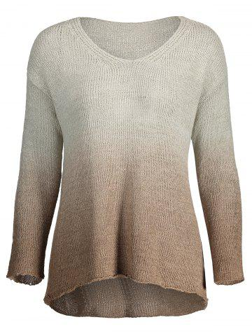Outfit V Neck Plus Size Ombre Print Sweater - ONE SIZE LIGHT BROWN Mobile