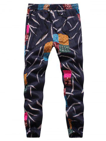 Discount Leaves and Patches Embossing Jogger Pants - 4XL COLORMIX Mobile