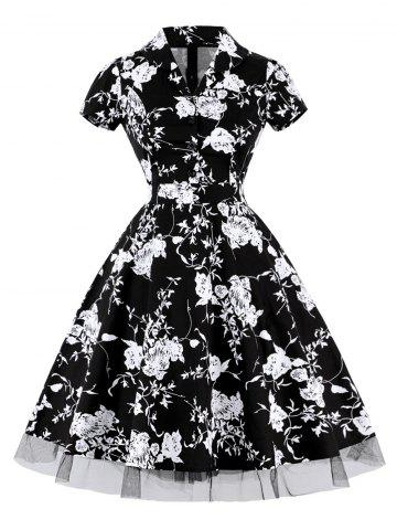 Buy Vintage Floral High Waist A Line Dress