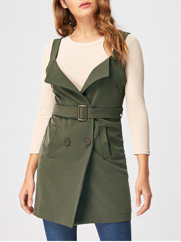 Latest Open Back Waistcoat with Belt ARMY GREEN L