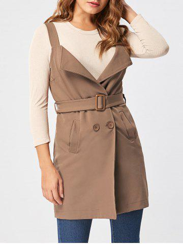 Buy Open Back Waistcoat with Belt - L KHAKI Mobile