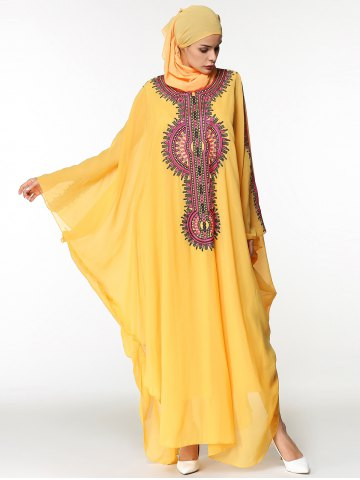 Batwing Sleeve Long Embroidered Chiffon Arabic Dress