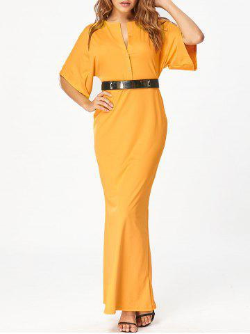 Chic Raglan Sleeve V Neck Maxi Bodycon Dress