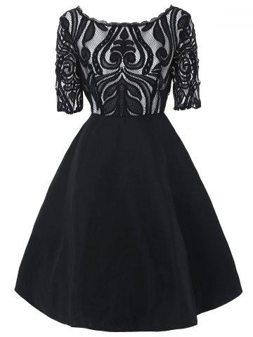 Store Boat Neck Lace Panel A Line Dress