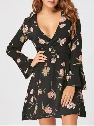 Trendy Bell Sleeve Floral Mini Surplice Dress