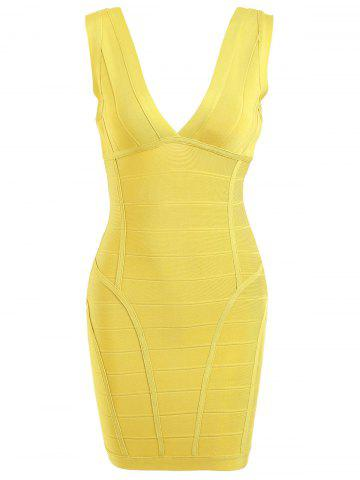 Latest Sleeveless Plunging Neck Bandage Dress
