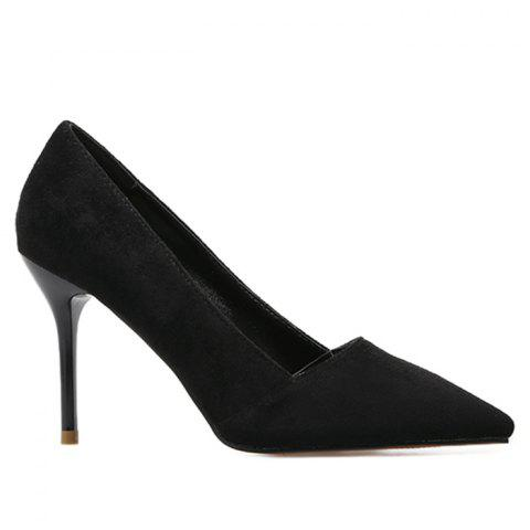 Faux Suede Basic Heel Pumps