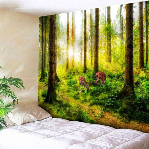 Fancy Sunshine Forest Deer Printed Wall Tapestry