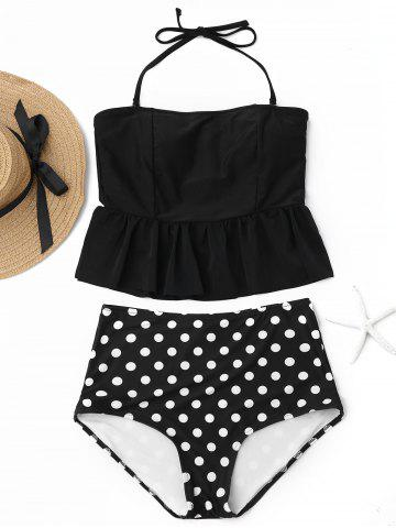 Trendy Peplum High Waisted Polka Dot Tankini Set