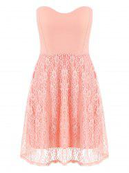 Lace Strapless Sleeveless Mini Cocktail Dress -