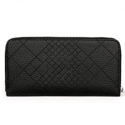 Quilted PU Leather Clutch Wallet -