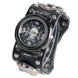 Gothic Style Skull Rivet Number Watch - BLACK