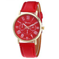Roman Numeral Round Quartz Watch - RED