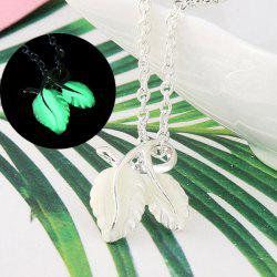 Fluorescent Leaf Shape Charm Necklace - GREEN
