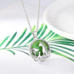Fluorescent Leopard Floating Charm Necklace - GREEN