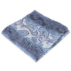 Paisley Jacquard Stripe Print Pocket Square - BLUE