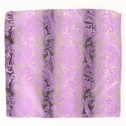 Paisley Jacquard Stripe Print Pocket Square - SUEDE ROSE