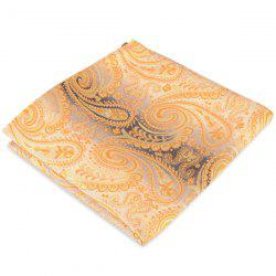 Paisley Jacquard Stripe Print Pocket Square - YELLOW