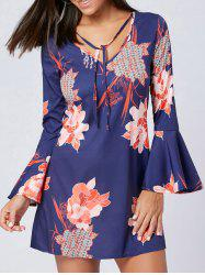 Flare Sleeve Floral V Neck Dress -