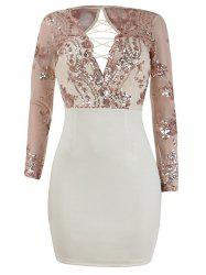 Lace Up Going Out Dress with Sequins - Abricot S
