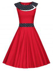 Vintage Polka Dot Fit et Flare Dress - Rouge S