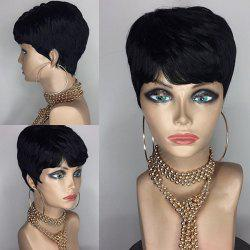 Short Side Bang Layered Straight Real Hair Hair Wig - JET NOIR #01