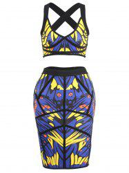 Printed Bandage Skirt and Crop Top Set - BLUE M